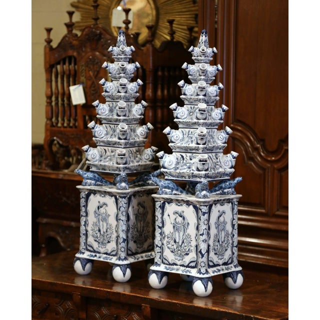 "Early 21st Century Pair of Painted Blue and White Porcelain Maottahedeh Tulip Pagodas ""Tulipieres"" For Sale - Image 5 of 13"