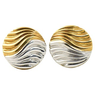Neiman Marcus Two-Tone Gold Earrings For Sale