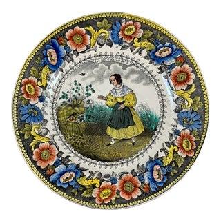 Creil Polychrome Transferware Polychrome Plate – Le Nid D'Oiseau, Circa 1830 For Sale