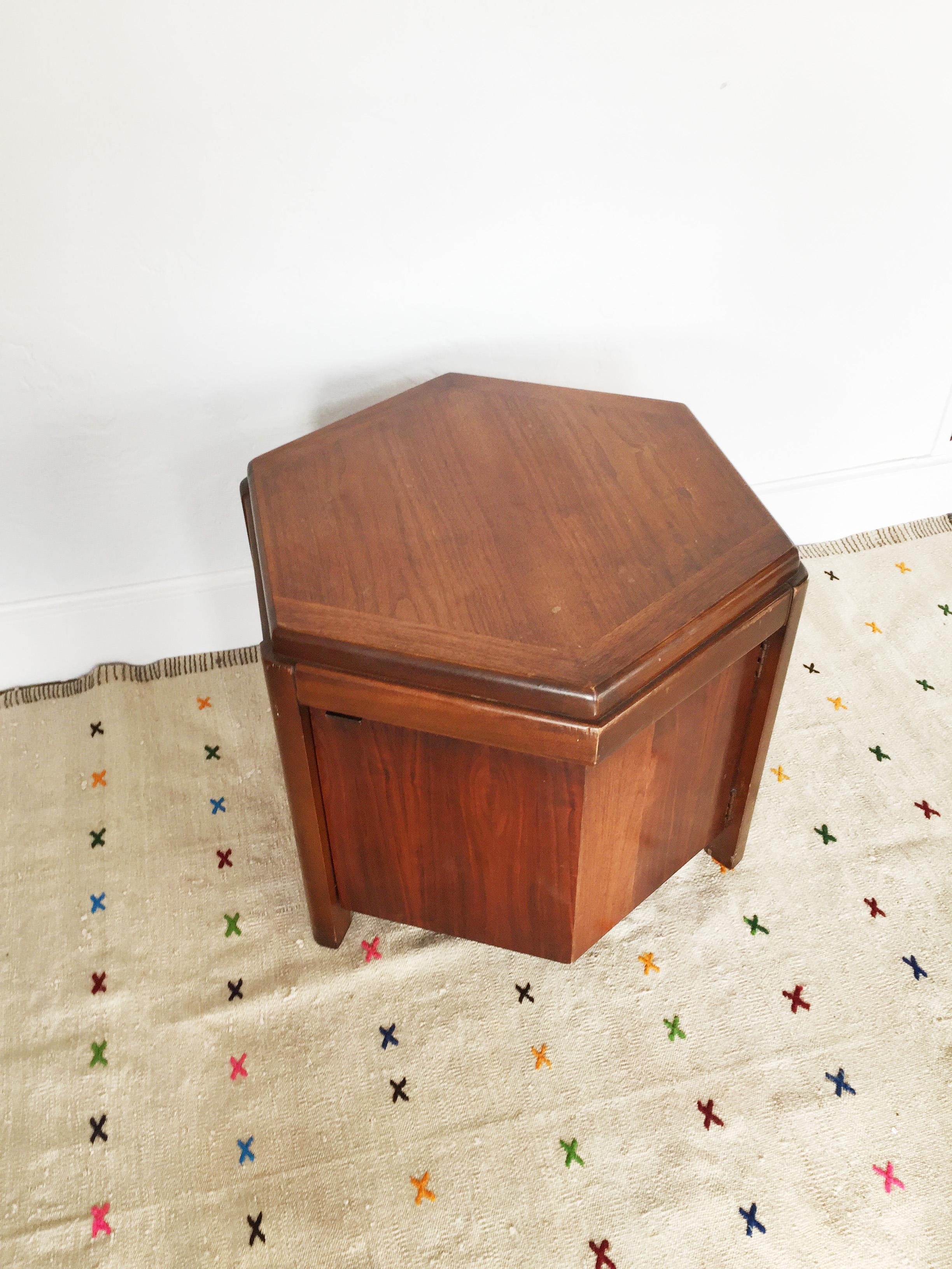 Lane MidCentury Hexagon Storage Side Table Chairish
