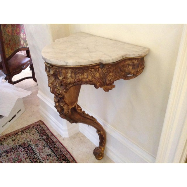 French 20th Century French Giltwood Console With Marble Top For Sale - Image 3 of 5