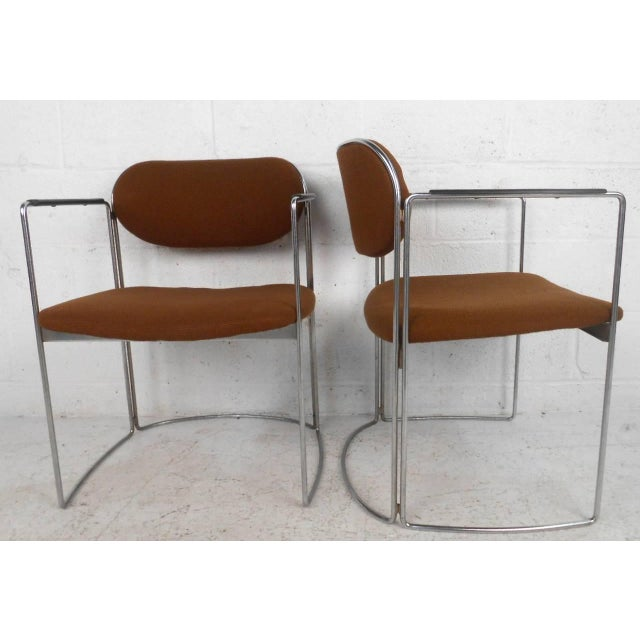Mid-Century Chrome & Upholstery Office Armchairs - Set of 7 - Image 6 of 10