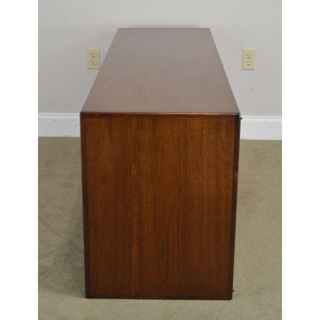 Mid Century Modern Walnut Low 4 Door Credenza Cabinet For Sale - Image 4 of 13