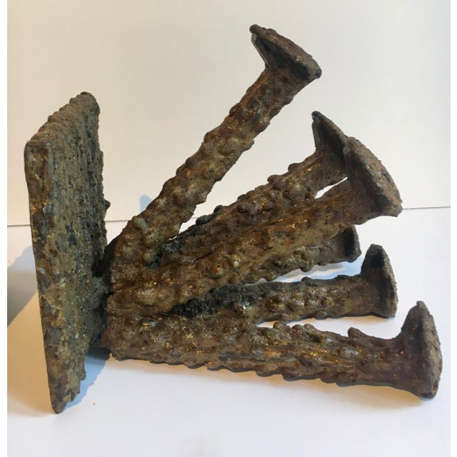 Brutalist Folkart Bronze Bookends - a Pair For Sale In Los Angeles - Image 6 of 9