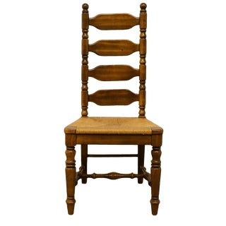 Late 20th Century Rustic Country Style Ladder-back Dining Side Chair For Sale