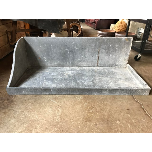 French sink basin found in northern France and is from the 1950's. Be great for a sink indoors or outdoors. Wood backing...