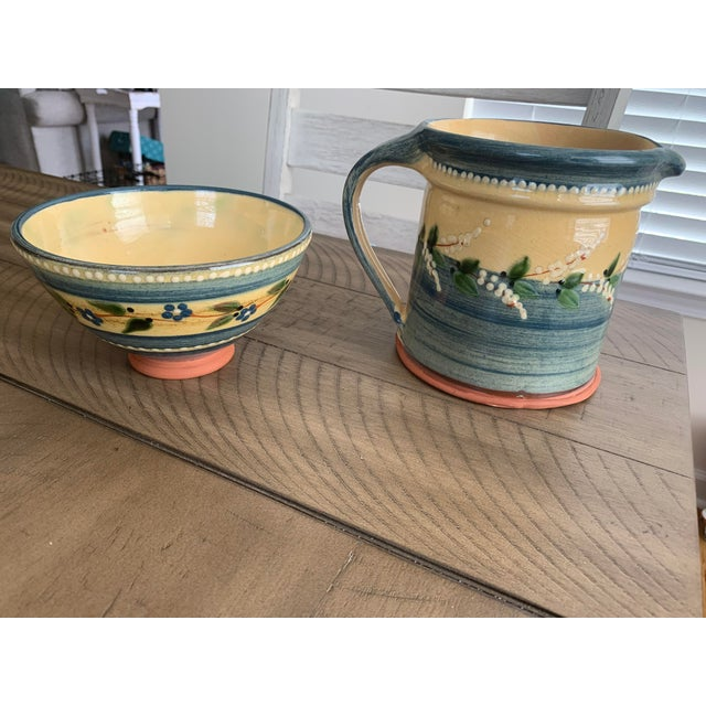 French Country Vintage French Country Hand-Painted & Glazed Terra Cotta Pottery Pitcher Jug & Bowl Set- 2 Pieces For Sale - Image 3 of 13