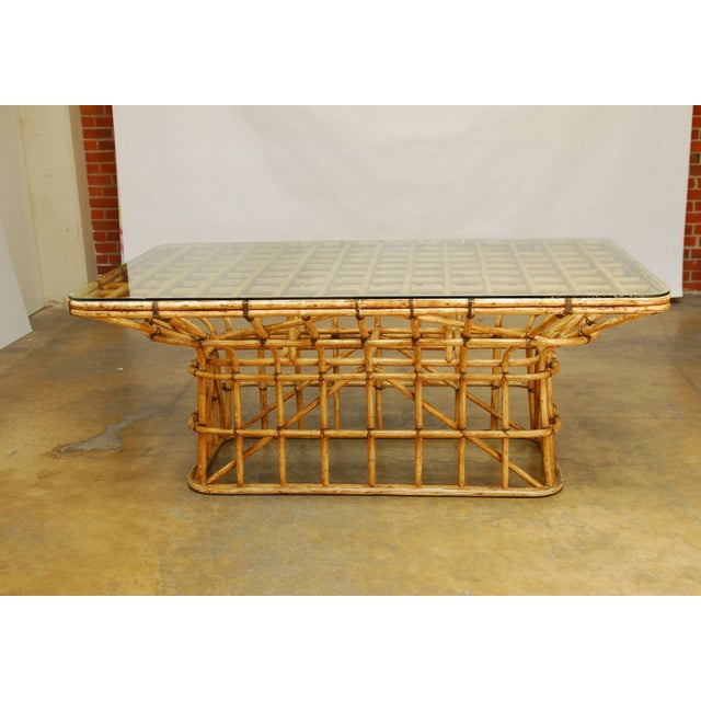 Mid-Century Architectural Bamboo Dining Table For Sale In San Francisco - Image 6 of 10