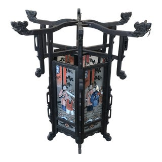 Late 19th Century Antique Asian Six Painted Panel Lantern For Sale