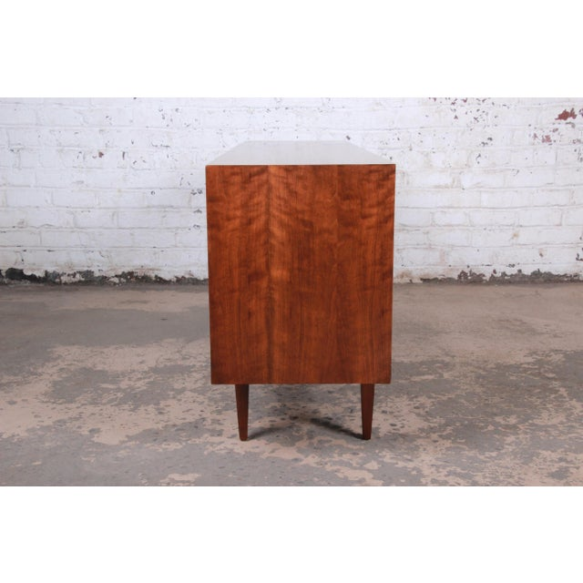 West Michigan Furniture Company Mid-Century Modern Walnut Triple Dresser or Credenza For Sale - Image 11 of 13