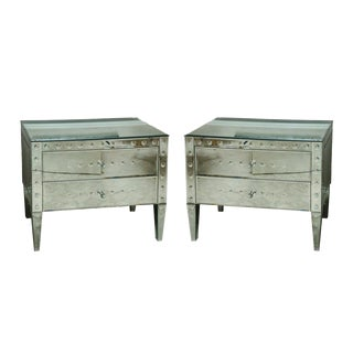 Pair of Italian Exquisitely Made Mirrored 2-Drawer Bedside Commodes For Sale