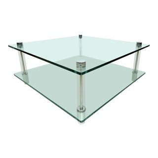 Mid-Century Glass and Lucite Coffee Table For Sale