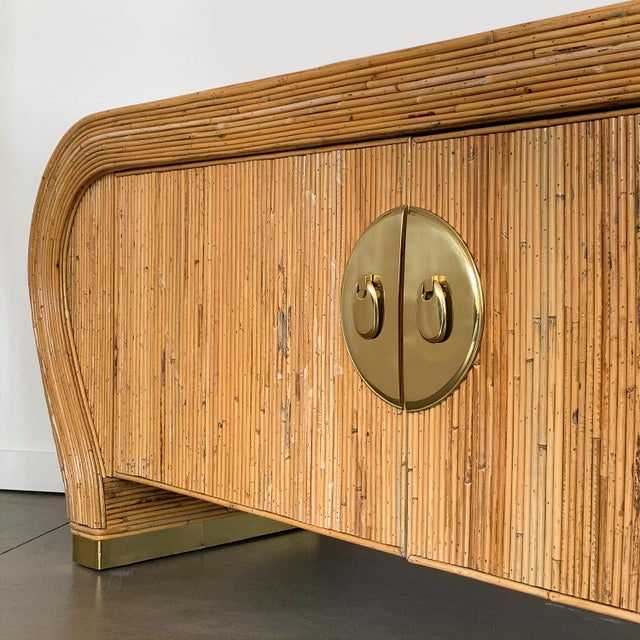Gabriella Crespi Style Bamboo and Brass Waterfall Sideboard Cabinet For Sale - Image 12 of 13