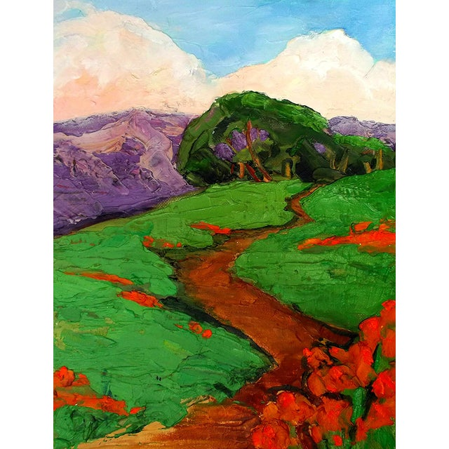 Original impressionist plein air landscape oil painting titled California Poppy Hills by Lynne French. The signed painting...
