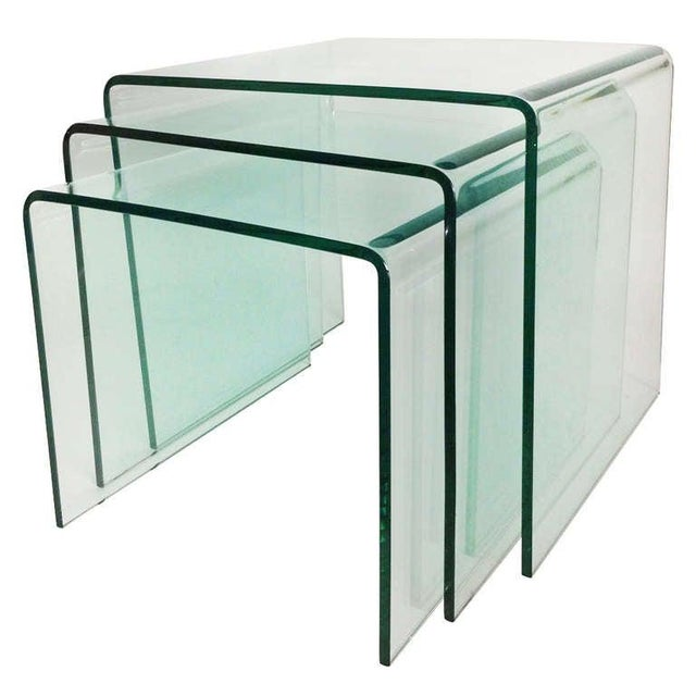 1970s Mid-Century Modern Fiam Italia Bent Glass Nesting Tables - Set of 3 For Sale In New York - Image 6 of 6