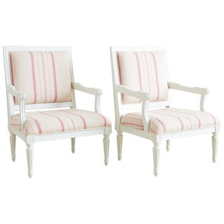 Pair of Louis XVI Style Painted Fauteuil Armchairs For Sale