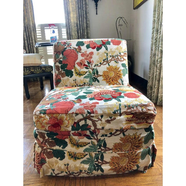 1960s Floral Slipper Chairs - A Pair For Sale - Image 5 of 9