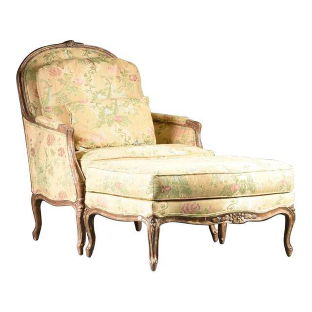 Yellow Louis XV Style Bergere & Footstool For Sale - Image 8 of 8