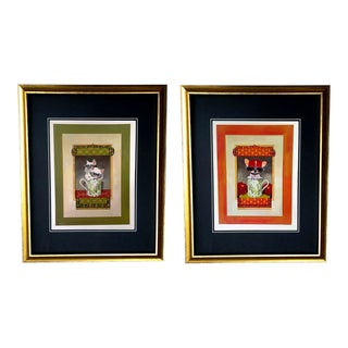 Framed Gucci Chinoiserie Teacup Kitten & Puppy Sunglasses Illustration Art - a Pair For Sale