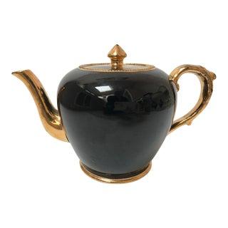 Vintage Black and Gold Tea Pot