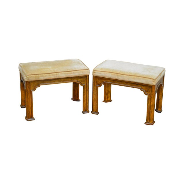 Drexel Heritage Pair of Vintage Walnut Stools or Benches For Sale - Image 13 of 13