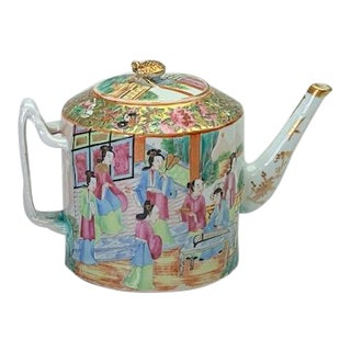 Early 19th Century Export Rose Mandarin Teapot With Strap Handle and Gold Berry Finial For Sale