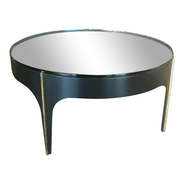 Ma+39's Custom Black and Brass Magnifying Lens Coffee Table For Sale