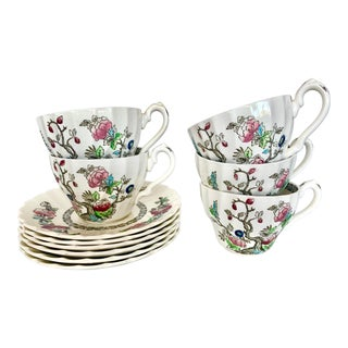 Vintage English Myott Staffordshire Tea Cups and Saucers - Service for 5 For Sale