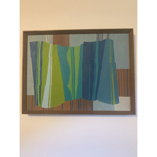 Blue Mid-Century Modern Abstract Line Acrylic Painting, Framed For Sale - Image 8 of 8