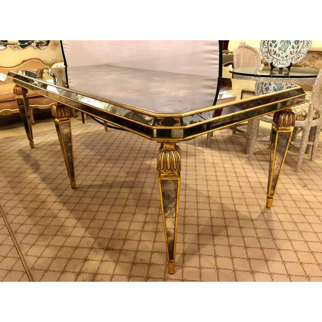 WorldClass Hollywood Regency Antiqued Mirrored Dining Conference - Regency conference table