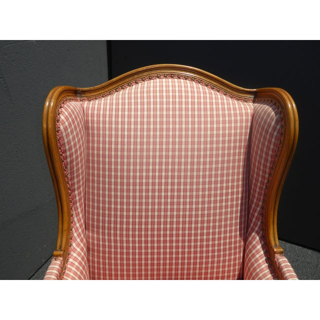 Vintage French Country Farmhouse Chic Red & White Plaid Wingback Chair - Image 8 of 11