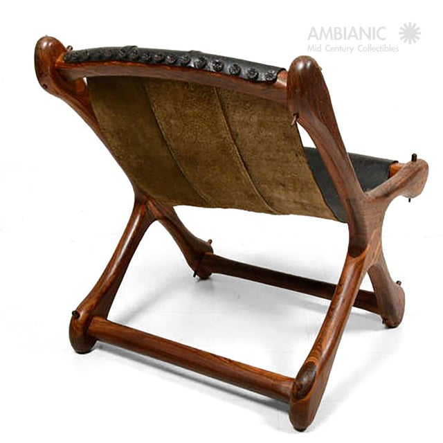 1960s Mid Century Modern Don Shoemaker Sling Chair, Cocobolo & Leather For Sale - Image 5 of 6