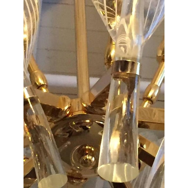 Blown Glass Italian Seguso Murano Glass and Brass Eight-Leaf Cattail Chandelier For Sale - Image 7 of 7