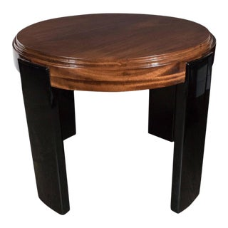 Art Deco Skyscraper Style Stepped Detail Side Table with Black Lacquer Legs For Sale