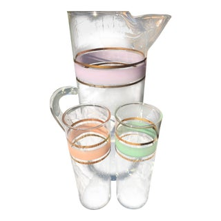 Mid-Century Pitcher and Glasses Bar Set - Set of 3 For Sale