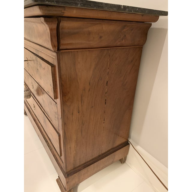 Louis Philippe burl walnut chest of drawers with marble top