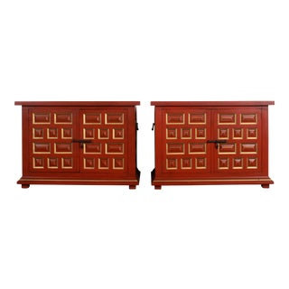 Vintage Drexel Hollywood Regency Chinoiserie Red Lacquer & Gold Gilt Buffet Cabinets - a Pair For Sale