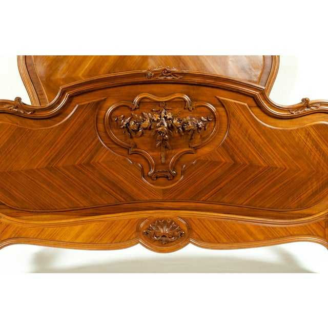 Late 19th Century Late 19th Century French Burl Walnut Bed For Sale - Image 5 of 13