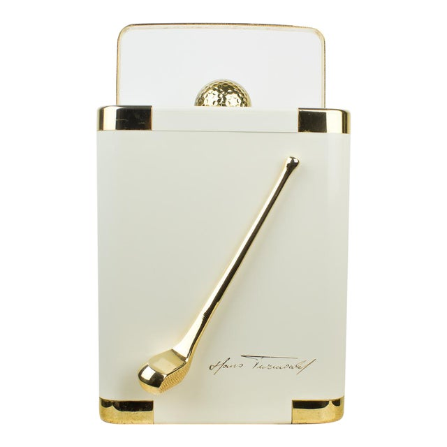 Vintage White and 24k Gold Turnwald Collection Golf Ice Bucket For Sale