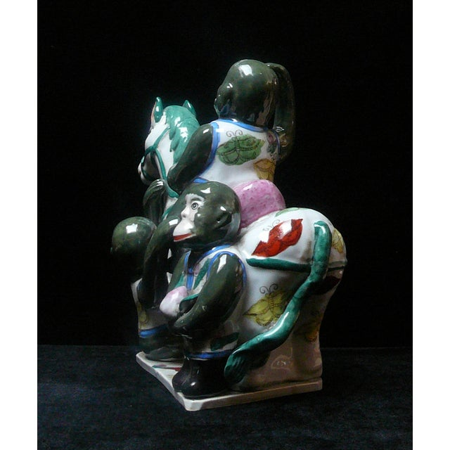 Arts & Crafts Handmade Ceramic Monkey and Horse Statue For Sale - Image 3 of 4
