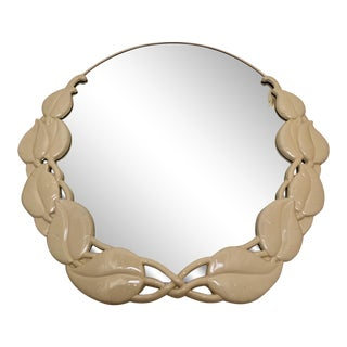 80's Beige Lacquered Deco Style Round Mirror