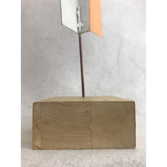1980s Modern Geometric Perforated Metal Sculpture For Sale - Image 4 of 10