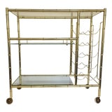 Image of Mid-Century Modern Brass-Plated Faux Bamboo Bar Cart For Sale