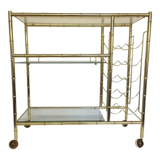 Mid-Century Modern Brass-Plated Faux Bamboo Bar Cart For Sale