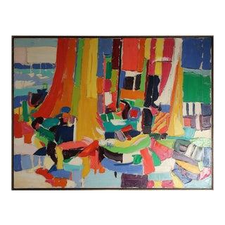 Sarah Leonard Krepp Mid-Century Modern Boats Painting For Sale