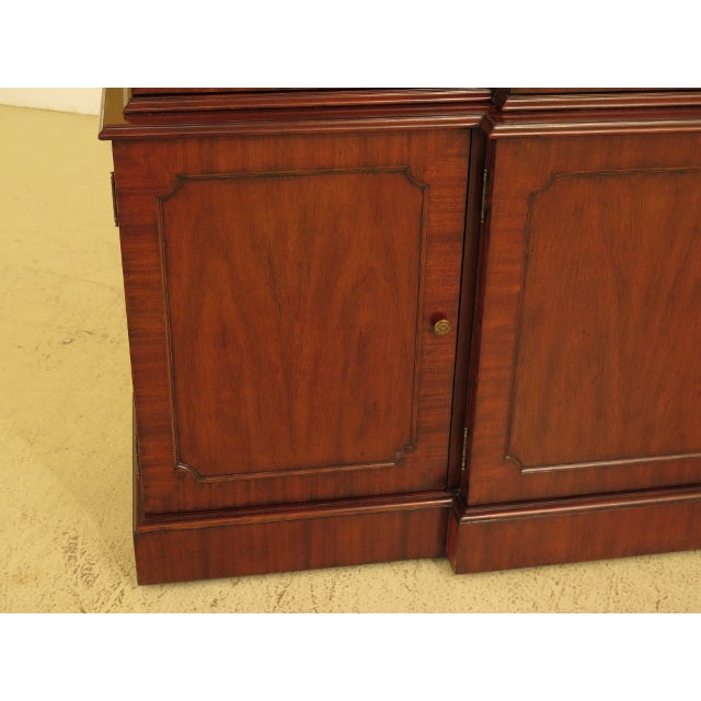 Maitland Smith Large Mahogany Breakfront Bookcase Cabinet For Sale - Image 12 of 13
