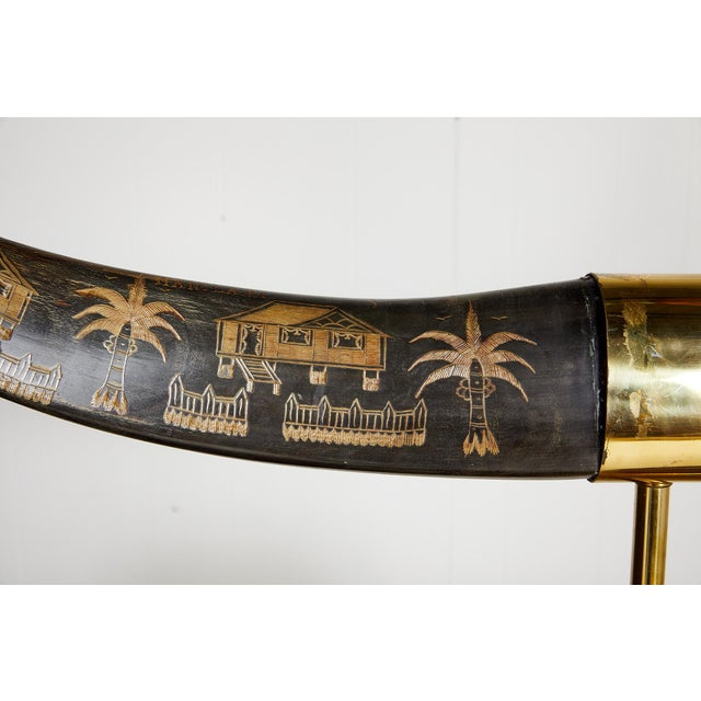 Vintage Brass Mounted Carved Water Buffalo Horns For Sale - Image 10 of 13