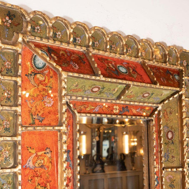 Orange Mid-Century Modern Graphic Gilded Reverse Églomisé Hand-Painted Venetian Mirror For Sale - Image 8 of 9