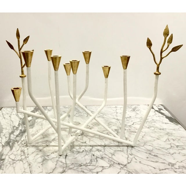 Stylish Contemporary Arteriors White and Gold Daphne Candle Holder, wood and metal, leaf accents, showroom floor sample,...