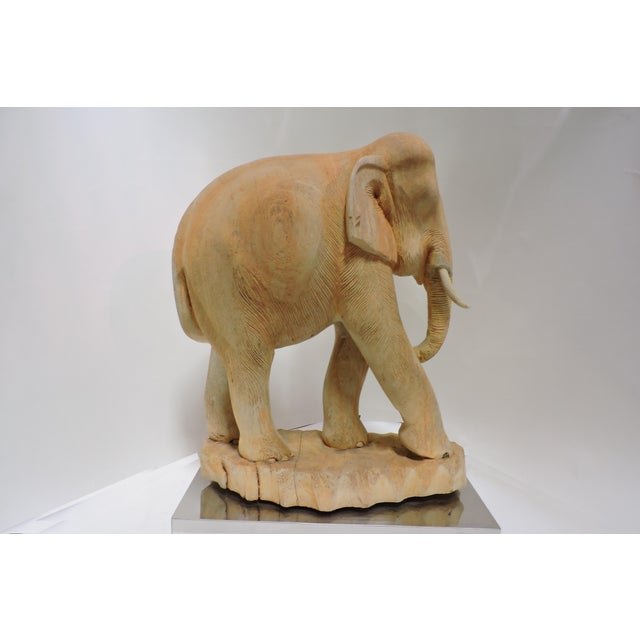 Asian Thai Carved Teak Elephant For Sale - Image 3 of 5